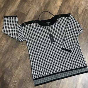 Cable and Gauge sweater size XL black and white